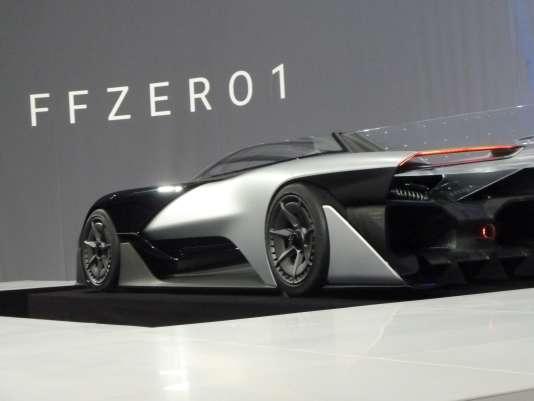 Présentation de la nouvelle voiture électrique FFZERO par Faraday au cours du Consumer Electronics Show (CES ) le 4 Janvier 2016 à Las Vegas, Nevada .