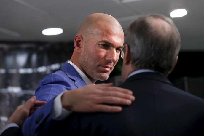 Zinédine Zidane et le président du Real Madrid Florentino Perez à Madrid le 4 janvier.