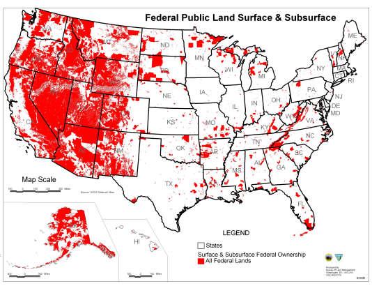 Cette carte montre, en rouge, les portions de terres détenues par l'Etat fédéral, essentiellement dans le nord-ouest du pays.