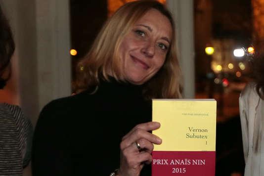 Virginie Despentes lors de la remise du prix Anaïs Nin à Paris, le 26 janvier 2015.