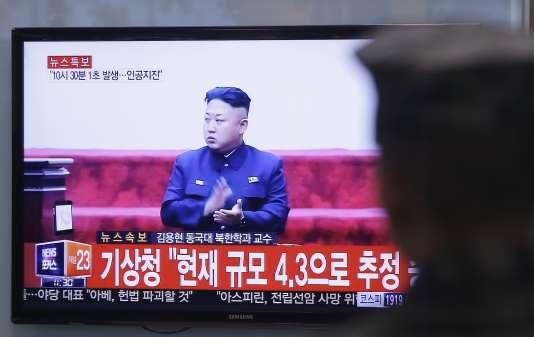 """Photo d'un écran de télévision diffusant des programmes norsd-coréens et annonçant le """"succès"""" d'un nouvel essai nucléaire par Pyongyang, mercredi 6 janvier. (AP Photo/Ahn Young-joon)"""