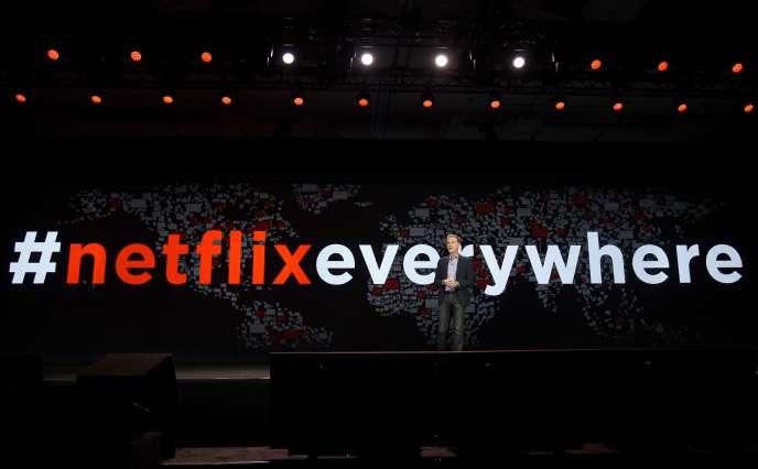Le PDG de Netflix, Reed Hastings, lors de sa conférence au CES de Los Angeles, enjanvier.