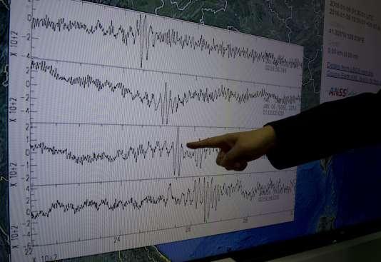 Au Centre de sismologie de Taiwan, après l'essai nucléaire du 6 janvier en Corée du Nord.