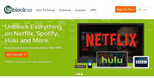 Capture d'écran de la page d'accueil de Unblock US.