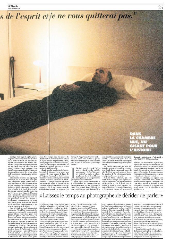 Numérisation de la page 25 du« Monde» daté du 18 janvier 2007.