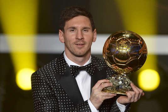 Lionel Messi lors de la remise de son quatrième Ballon d'Or, en janvier 2013.
