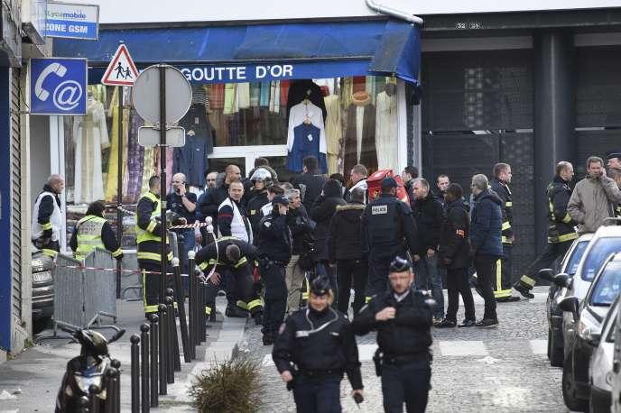 Le quartier de la Goutte-d'Or à Paris après la mort d'un homme qui s'était présenté armé d'une feuille de boucher devant le poste, jeudi 7janvier.