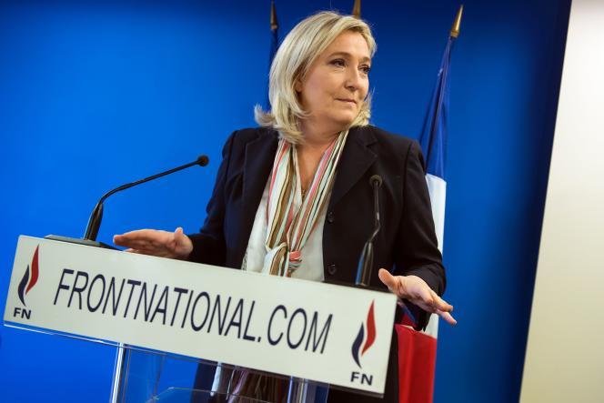 Marine Le Pen, au siège du FN à Nanterre, le 7 janvier.