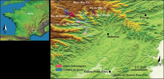 Carte des environs de la grotte Chauvet et du Bas-Vivarais.