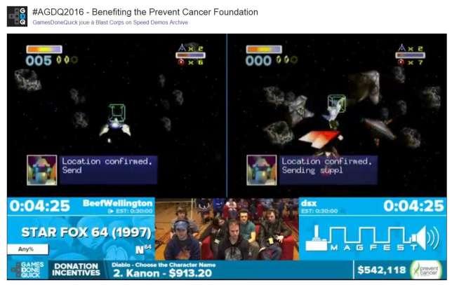 A l'Awesome Games Done Quick, sorte de Téléthon en jeu vidéo, les parties de vieux jeux vidéo diffusées en ligne ont remplacé les chansons télévisées.