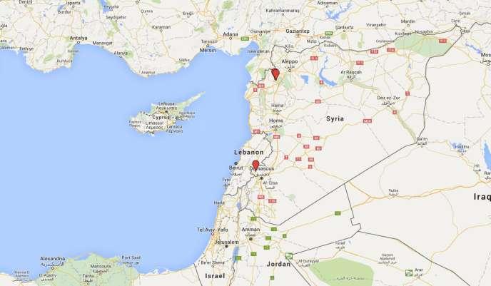 Carte de la situation : au sud, la ville de Madaya. Au nord, les villages de Foua et Kefraya.