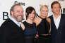 """Paul Giamatti, Maggie Siff, Malin Akerman et Damian Lewis, les acteurs principaux de """"Billions"""", le 7 janvier à New York."""