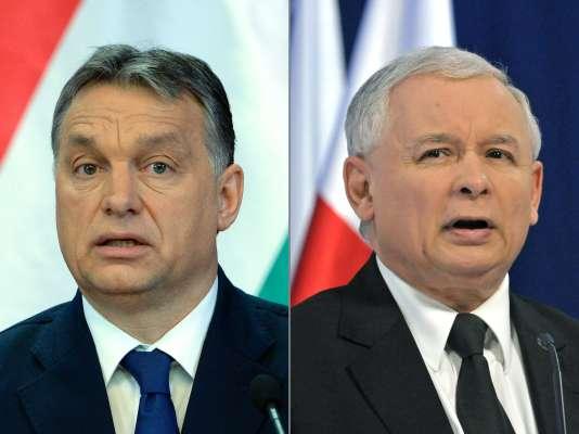 Viktor Orban, le premier ministre hongrois, et Jaroslaw Kaczynski, chef de file du PiS, le parti au pouvoir en Pologne.