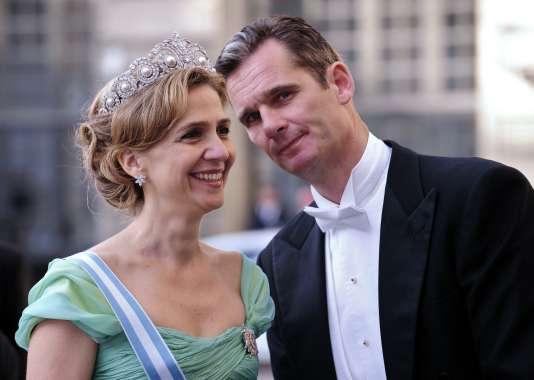 L'infante Cristina d'Espagne et son mari, Iñaki Urdangarin, à Stockholm, en 2010.
