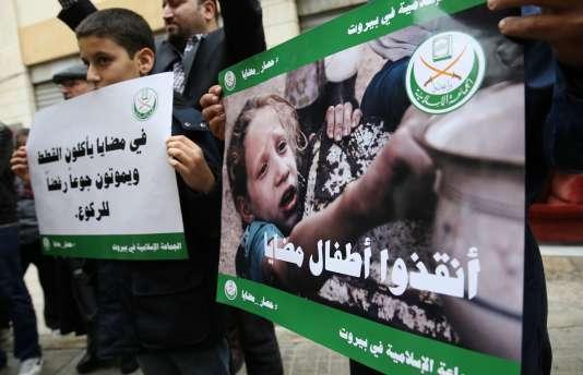 Manifestation à Beyrouth en solidarité avec les habitants de Madaya, le 8 janvier.
