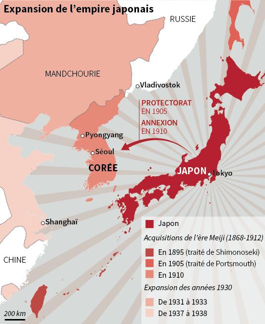 Carte de l'expansion de l'empire japonais.