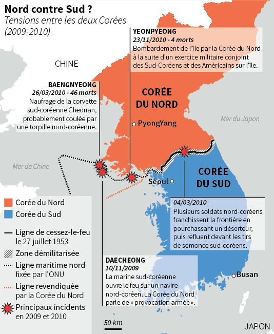La carte des escarmouches entre les deux Corées