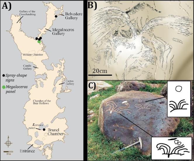 A - Plan de la grotte Chauvet avec les emplacements de dessins en gerbe. B - Relevé d'un des dessins. C - Pierre gravée sur un site archéologique arménien décrivant l'éruption du Porak il y a 7 000 ans en Arménie.