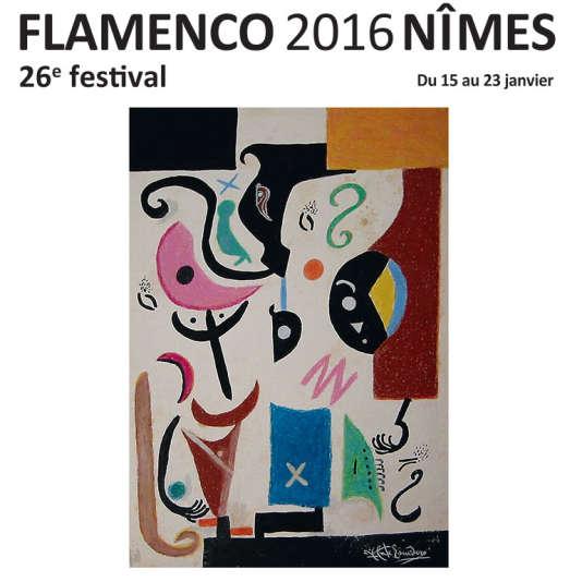 Affiche de la 26e édition du Festival Flamenco de Nîmes, conçue à partir de la peinture « Composición Flamenca Libre », de Vicente Escudero, collection José de la Vega.