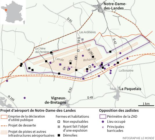 Carte de la ZAD de Notre-Dame-des-Landes avec le tracé du futur aéroport et les lieux d'occupation des militants hostiles au projet.