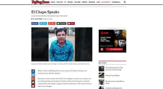 """Capture d'écran de l'article de Sean Penn paru dans le magazine Rolling Stone et relatant sa rencontre avec le baron de la drogue """"El Chapo""""."""