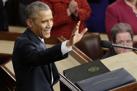 Barack Obama juste avant son avant-dernier discours sur l'état de l'Union, en 2015.