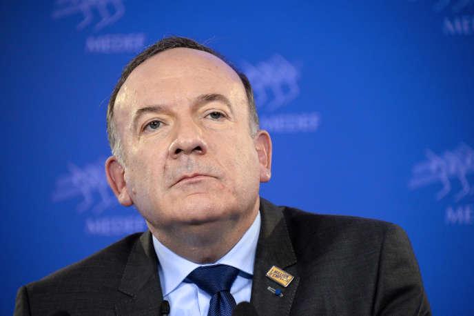 Pierre Gattaz, le président du Medef, lors d'une conférence de presse, en février 2015 àParis.