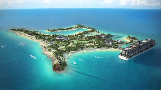 Le projet d'île artificielle que la société de croisières MSC est en train de faire construire au large de Miami aux Etats-Unis.