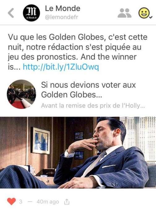 """""""Le Monde"""" est sur Peach."""