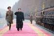 Kim Jong Un lors d'une visite au Ministère des Forces Armées du Peuple.