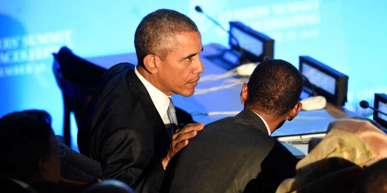 Le président américain Barack Obama et son homologue rwandais Paul Kagamé à l'Assemblée générale des Nations unies, le 28 septembre 2015.