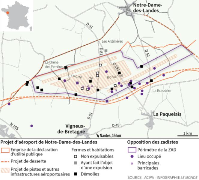 La carte de la ZAD de Notre-Dame-des-Landes avec le tracé du futur aéroport et les lieux d'occupation des militants hostiles au projet.