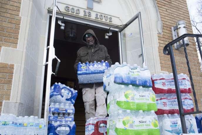 A Flint (Michigan), en janvier 2016. Des niveaux élevés de plomb ont été mesurés dans le réseau local d'alimentation en eau potable.
