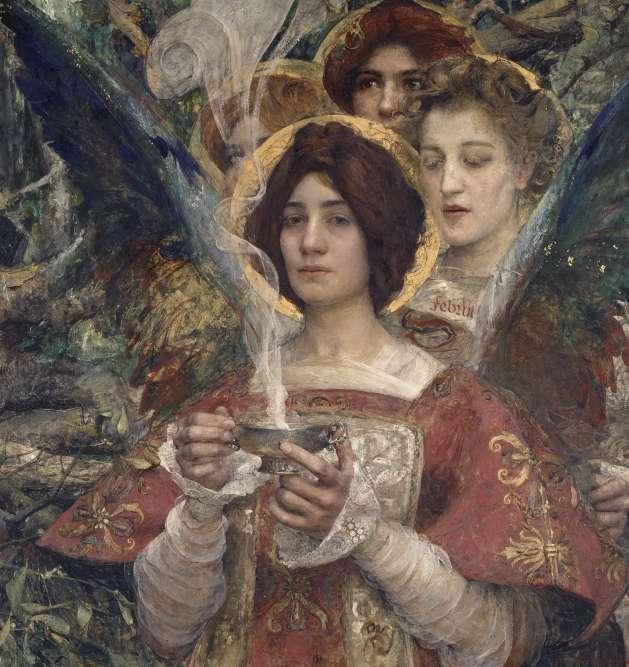 « Attiré par les légendes celtes et l'histoire du Moyen Age, Maxence incarne les esprits des bois dans des figures féminines à la fois sensuelles et hiératiques. Le personnage central, vêtu d'une dalmatique rose brodée d'or, tient dans les mains une coupe d'argent, d'où s'échappent des volutes d'encens. »