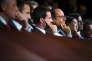 François Hollande, président de la République, et Manuel Valls, Premier ministre participent à la cérémonie des voeux à la jeunesse et aux forces de l'engagement dans le Grand auditorium de Radio France à la Maison de la Radio à Paris, lundi 11 janvier 2016 - 2016©Jean-Claude Coutausse / french-politics pour Le Monde
