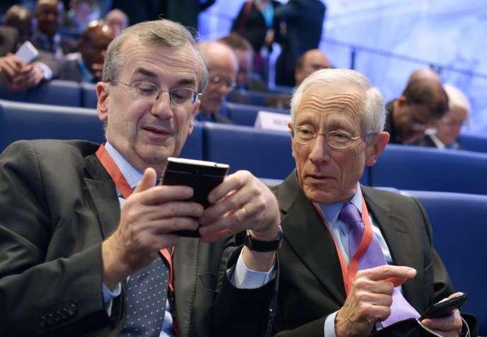 François Villeroy de Galhau, le gouverneur de la Banque de France, aux côtés de Stanley Fischer, le numéro deux de la Fed, le 12 janvier, à la Banque de France.