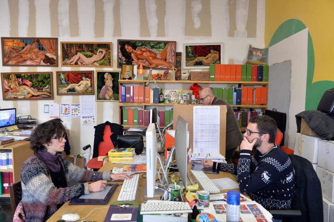 Les bureaux de Cornelius, éditeur de BD au sein de la Fabrique Pola, collectif d'artistes, à Bordeaux.
