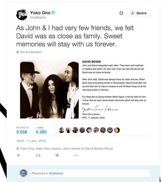 Capture d'écran du compte Twitter de Yoko Ono.