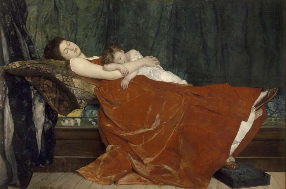 « Couché sur un divan, le modèle porte son enfant sur sa poitrine, les mains croisées. Le rouge grenat de la robe de velours tranche avec le vert du rideau du fond. Le dégradé des ocres, bruns et gris atténuent, dans les détails du lit, la vivacité de la touche ».