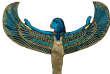 Ce bijou funéraire, représentant la déesse Isis, est fait d'or, de cornaline et de lapis-lazuli. Il a été trouvé dans la tombe de Toutankhamon.