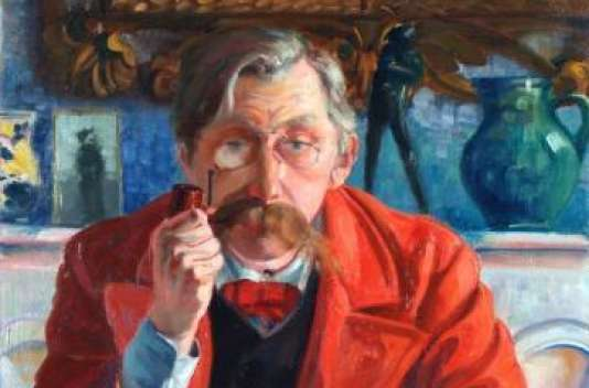 Emile Verhaeren en redingote rouge, Georges Tribout (1884-1962), huile sur toile, 1907, collection Musée Emile Verhaeren, Saint-Amands, Belgique.