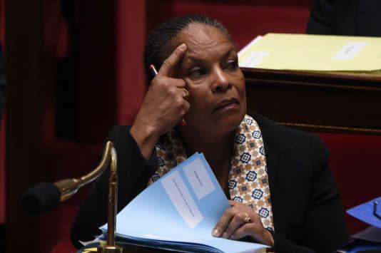 Christiane Taubira, la ministre de la justice, lors des questions au gouvernement à l'Assemblée nationale, le 13 janvier.