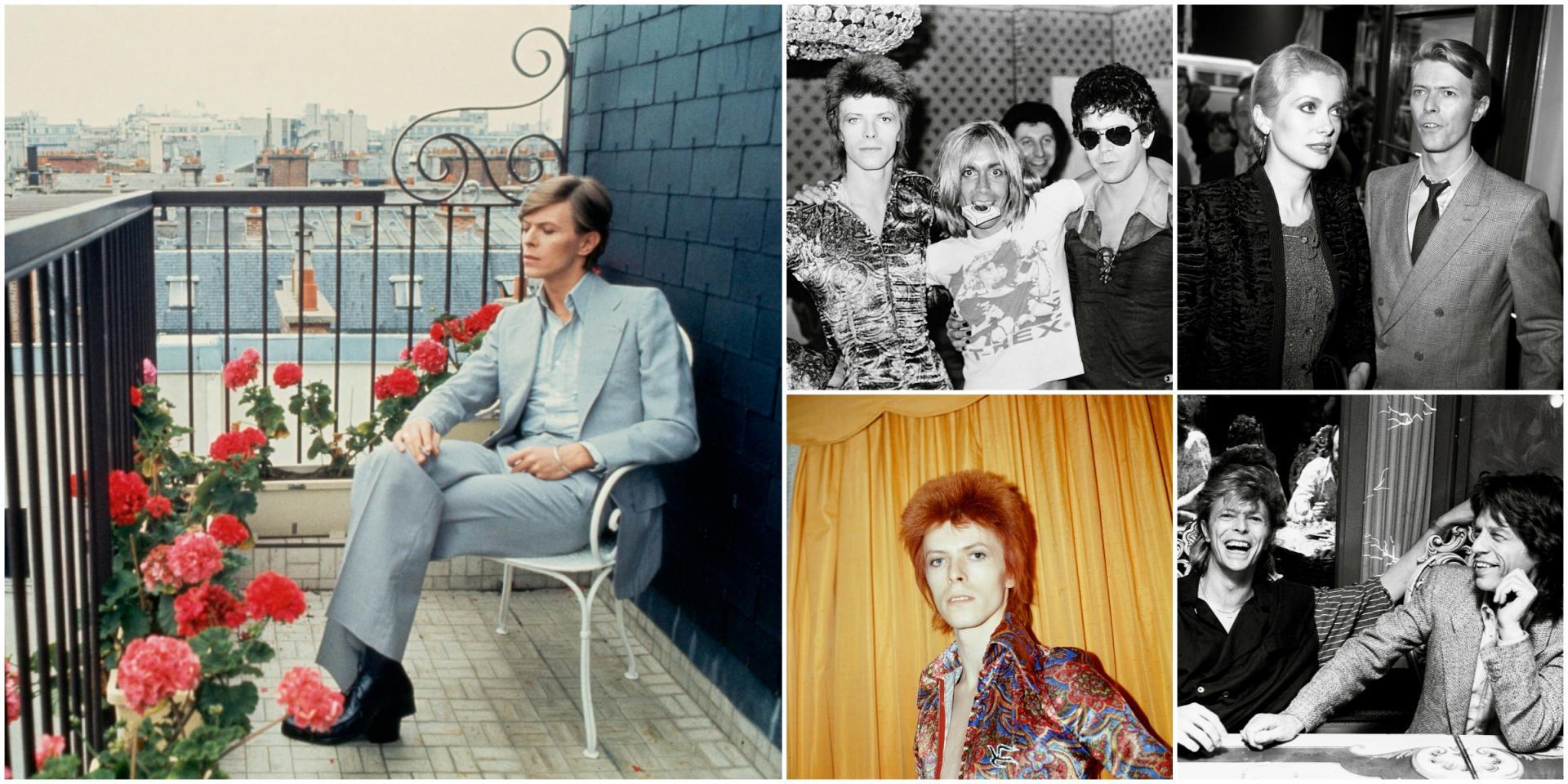 """A gauche : David Bowie à Paris, en 1977. A droite (de gauche à droite et de haut en bas) : avec Iggy Pop et Lou Reed, à Londres, en 1972 ; avec Catherine Deneuve, en 1982, lors du tournage des """"Prédateurs"""" ; Bowie époque Ziggy, en 1973 ; avec Mick Jaegger, à Londres, en 1987."""