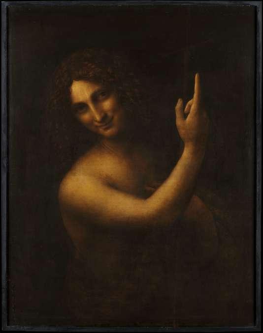 """""""Saint Jean Baptiste"""", de Léonard de Vinci, avant restauration. Peint entre 1508 (?) et 1519, huile sur bois (noyer). 73 x 56,5 cm. Les couches de vernis oxydé masquent la croix et la peau de bête que porte la sainte image."""