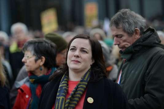 La secrétaire nationale d'EELV, Emmanuelle Cosse, lors d'une manifestation à Nantes contre le projet d'aéroport de Notre-Dame-des-Landes, le 13 janvier.