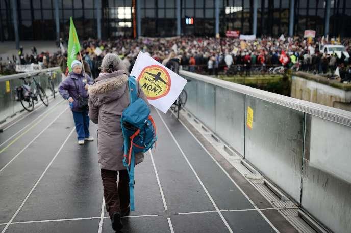 Manifestation d'opposants au projet d'aéroport à Notre-Dame-des-Landes à Nantes, le 13 janvier 2015.