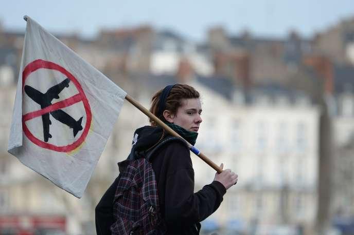 Un manifestant opposé au projet au projet d'aéroport Notre-Dame-des-Landes le 13 janvier 2015 à Nantes.