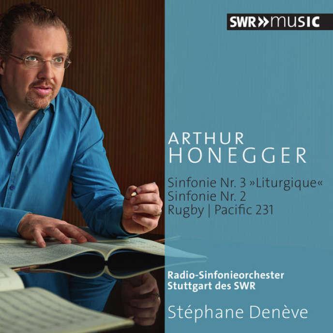 Pochette de l'album « Symphonie n°2 pour cordes et trompette en ré majeur. Symphonie n°3 « Liturgique ». Rugby. Pacific 231», compositions d'Arthur Honegger par l'Orchestre symphonique de la SWR de Stuttgart, Stéphane Denève (direction).
