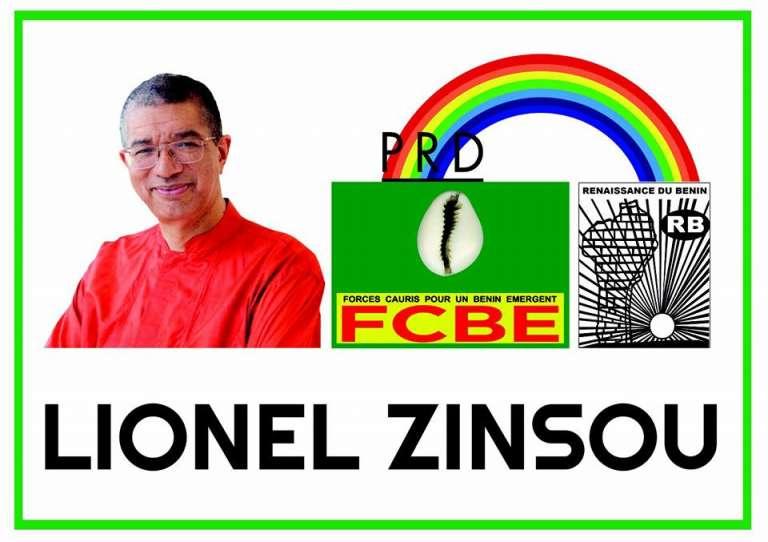 Le dossier de campagne de Lionel Zinsou, qui porte le logo du parti au pouvoir, FCBE, mais aussi celui de deux partis d'opposition, le PRD et la RB.