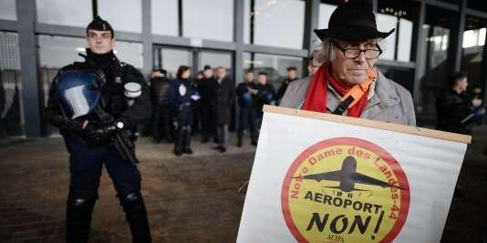 Un opposant au projet d'aéroport de Notre-Dame-des-Landes, le 13janvier au tribunal de grande instance de Nantes.
